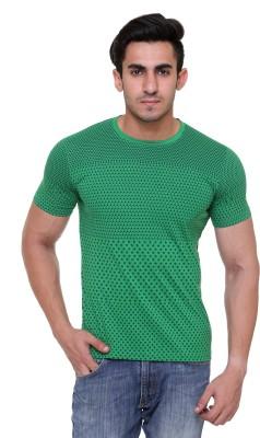 FREE RUNNER Printed Men's Round Neck Green T-Shirt