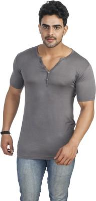 Male Basics Solid Men's Round Neck Grey T-Shirt