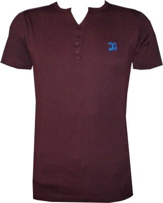 Tick Lish Solid Men's V-neck Maroon T-Shirt