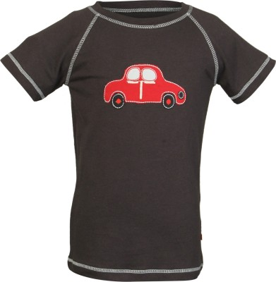 Nino Bambino Embroidered Boy's Round Neck Black T-Shirt