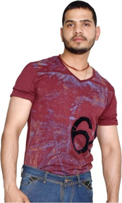 allrugget Printed Boy's V-neck Red, Black T-Shirt