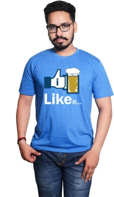 Style Drug Graphic Print Men's Round Neck Blue T-Shirt