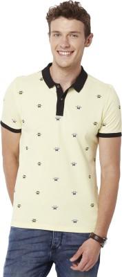 Chumbak Printed Men's Polo Neck Yellow T-Shirt