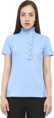 House Of Fett Solid Women's Polo Neck Light Blue T-Shirt