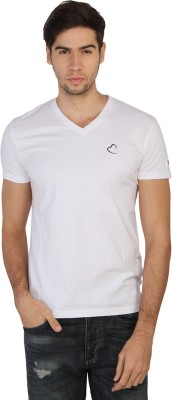 Being Human Solid Men's V-neck White T-Shirt