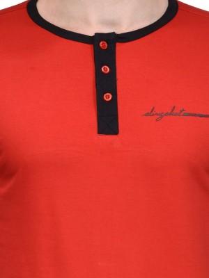 Slingshot Solid Men's Henley Red T-Shirt