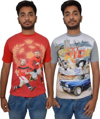 Shaun Printed Men's Round Neck Red, Grey T-Shirt
