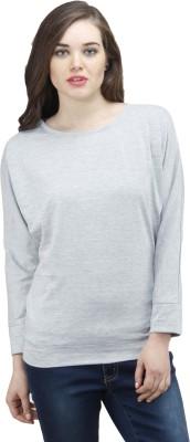 Osumfab Solid Women's Round Neck Reversible Grey T-Shirt