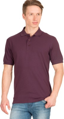 Wilkins & Tuscany Solid Men's Polo Neck Maroon T-Shirt