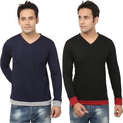 Jangoboy Solid Men,s V-neck Blue, Black T-Shirt