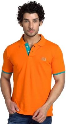 YOO Solid Men's Polo Neck Orange T-Shirt
