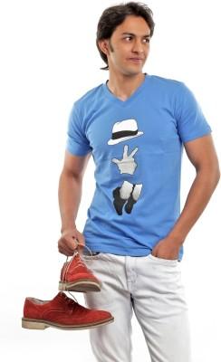 BG69 Graphic Print Men's V-neck Light Blue T-Shirt