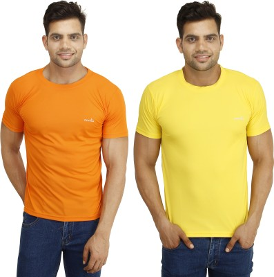 Eprilla Solid Men,s Round Neck Orange, Yellow T-Shirt