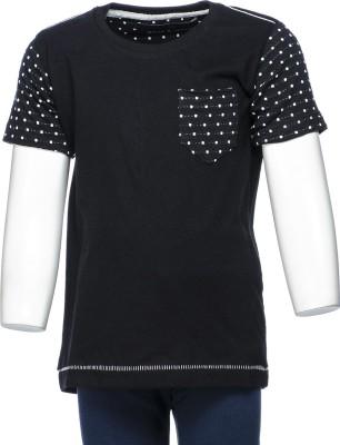 Crux&Hunter Solid Boy's Round Neck White, Black T-Shirt