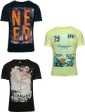 Hefty Graphic Print Men's Round Neck Mul...