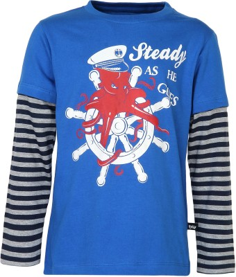 Bells and Whistles Printed Boy's Round Neck Blue T-Shirt