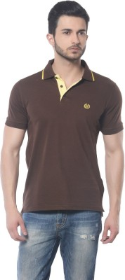 Skookie Solid Men,s Polo Neck Brown T-Shirt