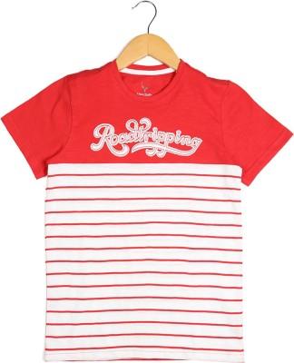 Allen Solly Striped Boy's Round Neck Red T-Shirt
