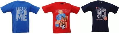 Mintees Graphic Print Boy's Round Neck Multicolor T-Shirt