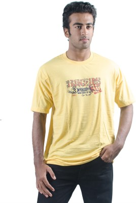 0-Degree Solid Men's Round Neck Yellow T-Shirt