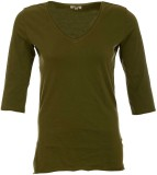 A33 Store Solid Women's V-neck Green T-S...