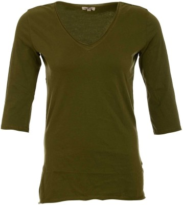 A33 Store Solid Women's V-neck Green T-Shirt