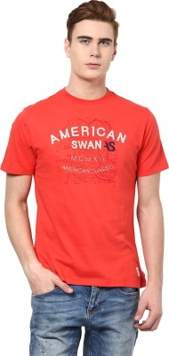 American Swan Graphic Print Men's Round Neck Red T-Shirt