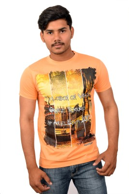 YOUTH & STYLE Graphic Print Men's Round Neck Beige T-Shirt