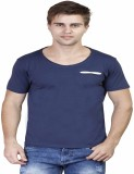 Righardi Solid Men's Round Neck Blue T-S...