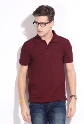 Happy Hours Solid Men's Polo Neck Maroon T-Shirt
