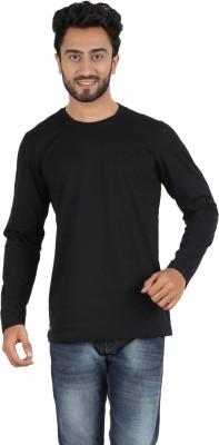 Ocean Race Solid Men,s Round Neck Black T-Shirt