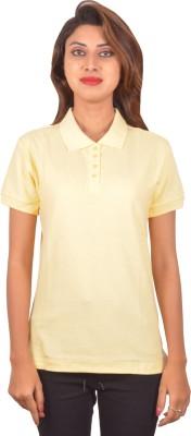 Blueash Self Design Women's Polo Neck Yellow T-Shirt