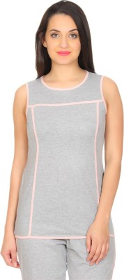 Rute Solid Women's Round Neck Grey, Pink T-Shirt