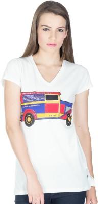 Miss Chick Solid Women's V-neck White T-Shirt