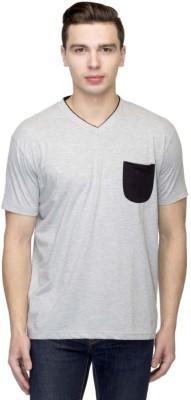 Martech Solid Men's V-neck Grey, Black T-Shirt