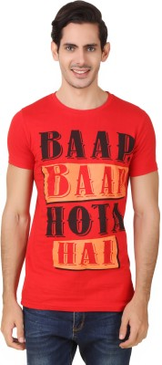 Big Pout Printed Men's Round Neck Red T-Shirt
