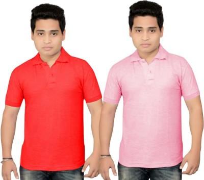 BrandTrendz Solid Men's Polo Neck Pink, Red T-Shirt