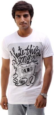 AR Fashions Printed Men's Round Neck White T-Shirt