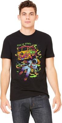 Monzter Popcornz Graphic Print Men's Round Neck Black T-Shirt