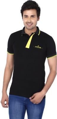 Kraasa Self Design Men's Polo Neck Black, Yellow T-Shirt