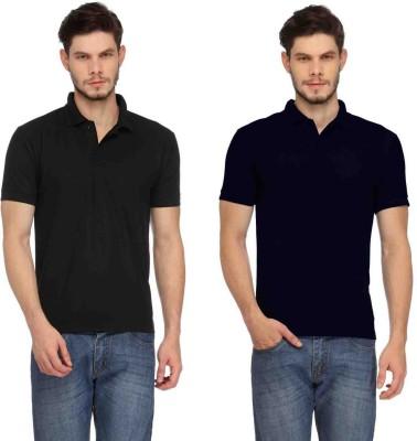 Davie Jones Solid Men's Polo Neck Black, Blue T-Shirt