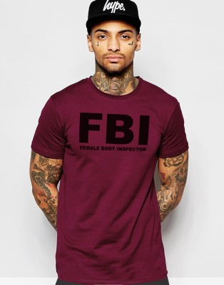 Young Trendz Printed Men,s Round Neck Maroon T-Shirt
