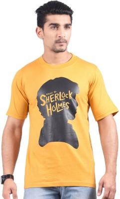NG Tees Graphic Print Men's Round Neck Yellow T-Shirt