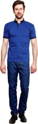 99Hunts Solid Men's Polo Neck Blue T-Shirt