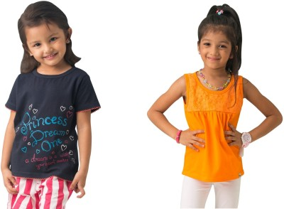 Bluebuck Solid Girl's Round Neck T-Shirt
