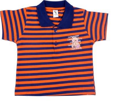Cucumber Printed Baby Boy's Polo Neck Orange, Blue T-Shirt