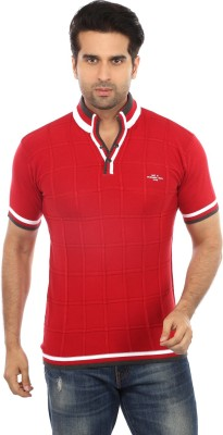 GOT IT Checkered Men's Flap Collar Neck Red T-Shirt