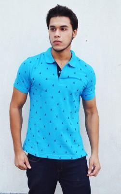 Deer Park Printed Men's Polo Neck Blue T-Shirt