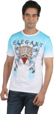 Moncheri Printed Men's Round Neck White T-Shirt
