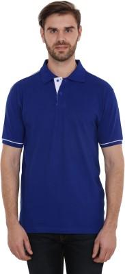 CNMN Solid Men's Polo Neck Blue T-Shirt